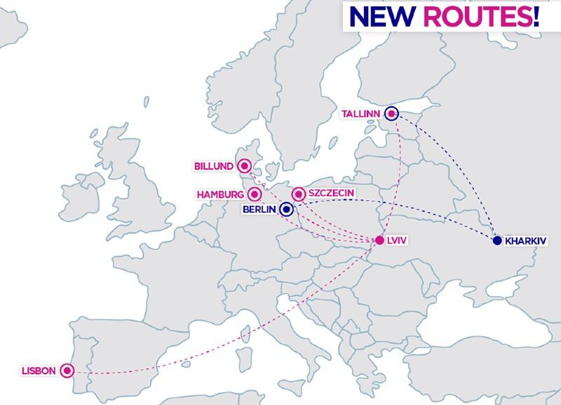 карта новых рейсов виззэир
