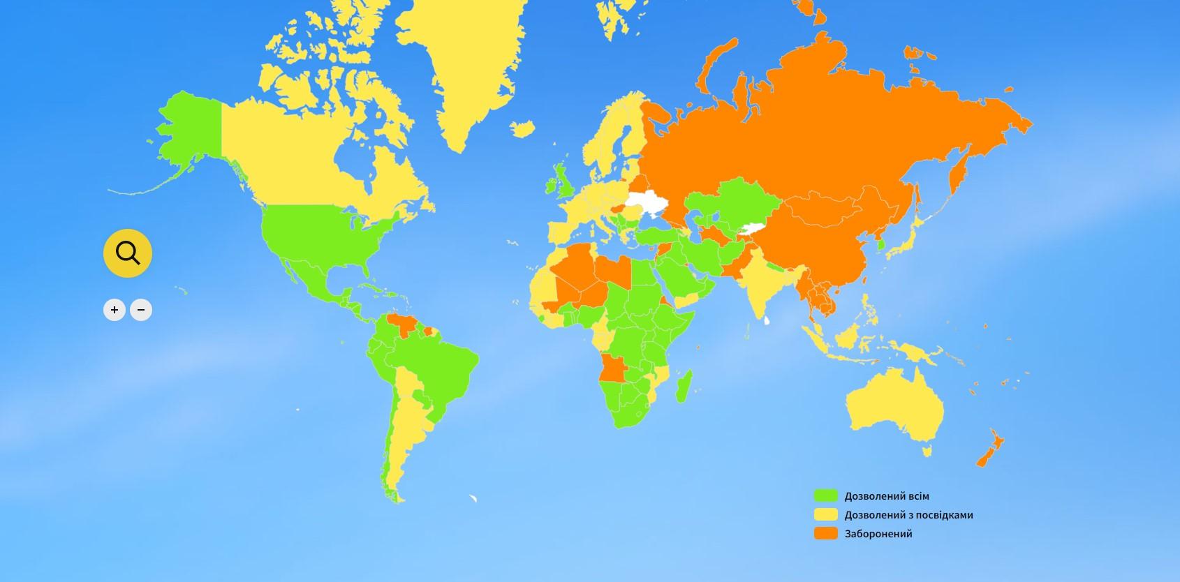 открытые страны для украинцев